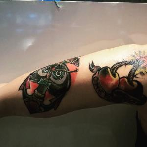 Manes Antonio owl and cherry 2 old school manes rebel ink tatto studio bologna